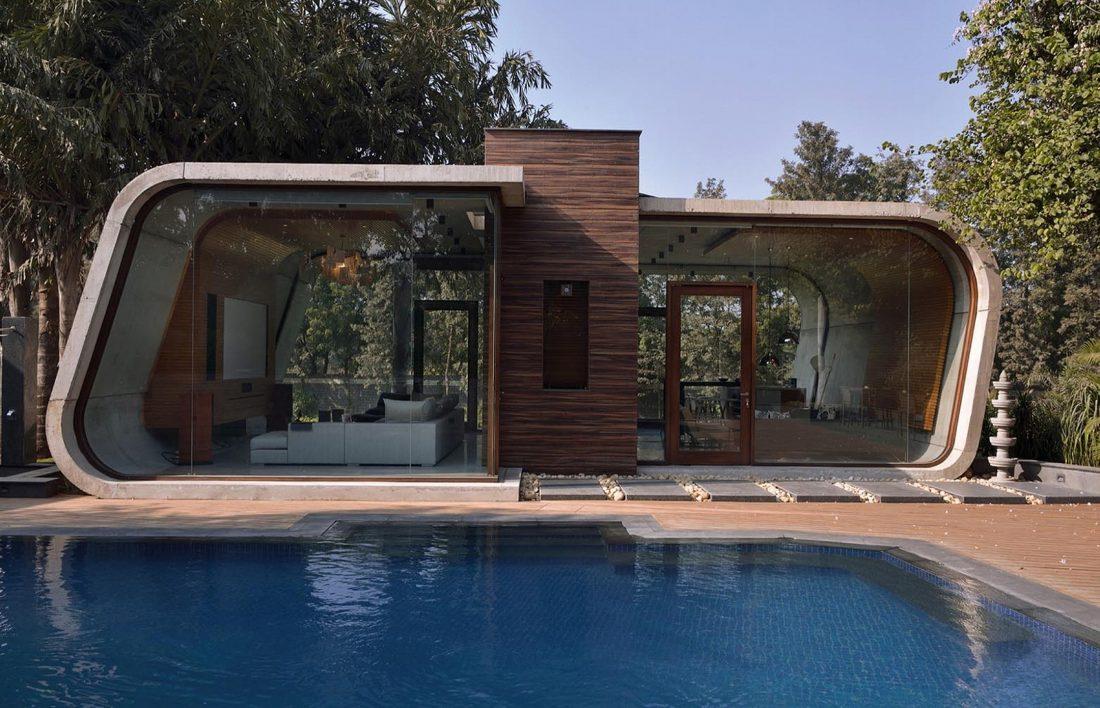 Необычный дом Pool House в Индии от студии 42mm Architecture 7