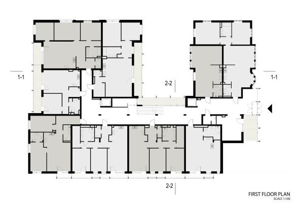 Жилой дом Erg 6 из старого санатория в Юрмале План 1