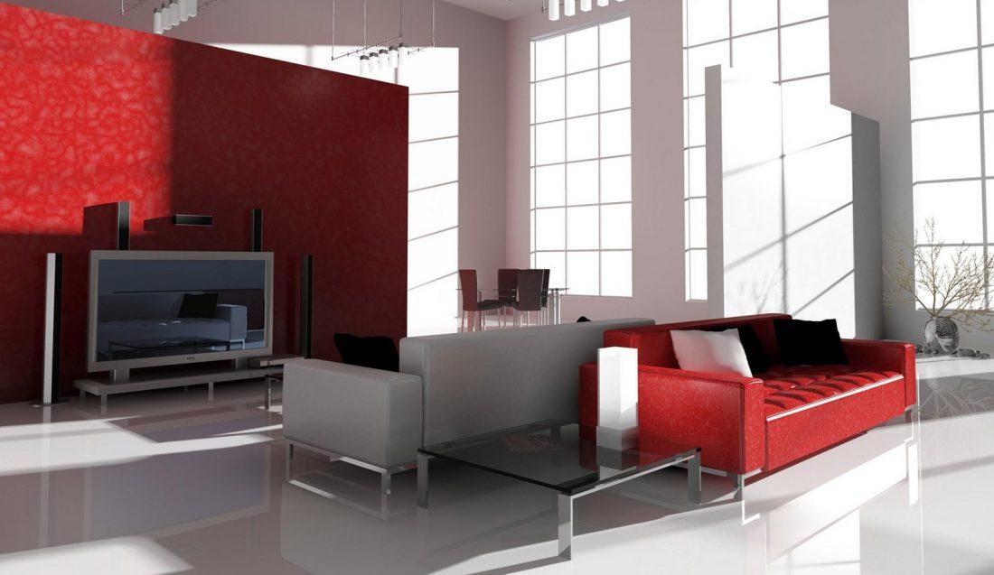 Гостиная в стиле хай-тек в красно-серой гамме