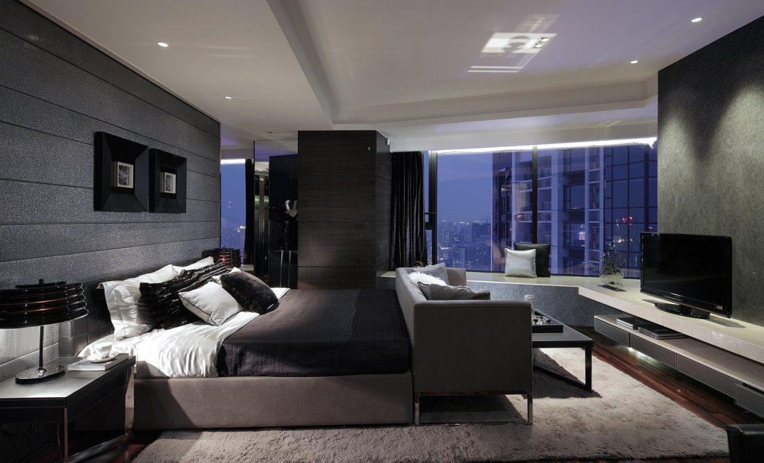 Спальня в стиле хай-тек в серых и коричновых тонах