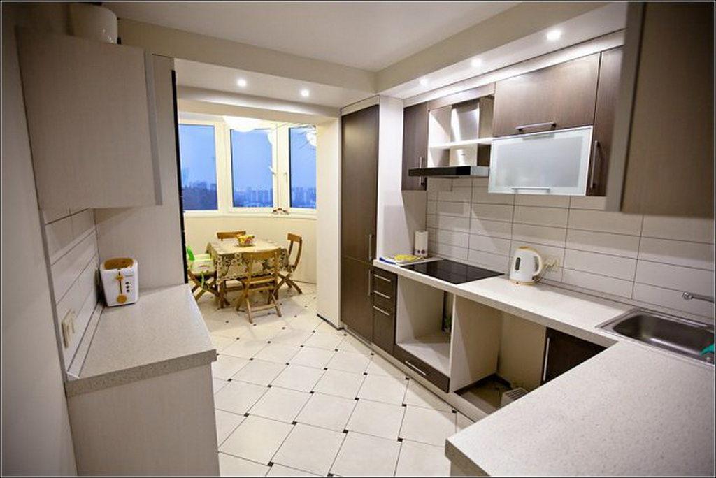 Объединение кухни с балконом, фотографии реальных интерьеров 11
