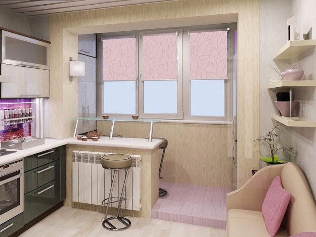 Объединение кухни с балконом, фотографии реальных интерьеров 12