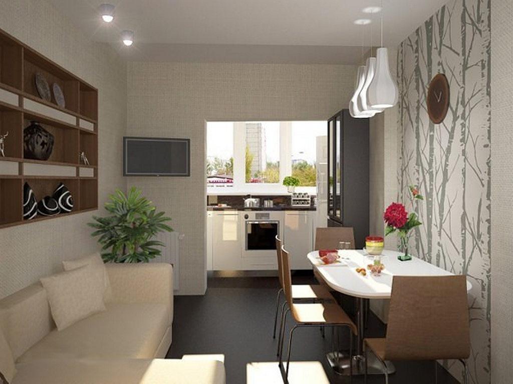 Дизайн кухни гостиной с лоджией.