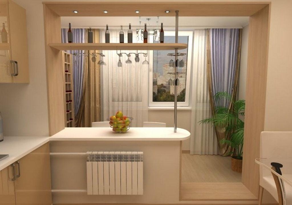 Примеры объединения кухонь с балконами или лоджиями.