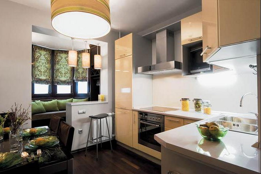 Эксперимент дизайна кухни совмещенной с лоджией.