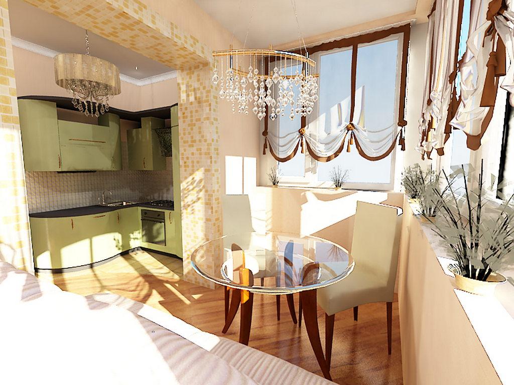 Дизайн штор для балкона присоединенного к кухне..