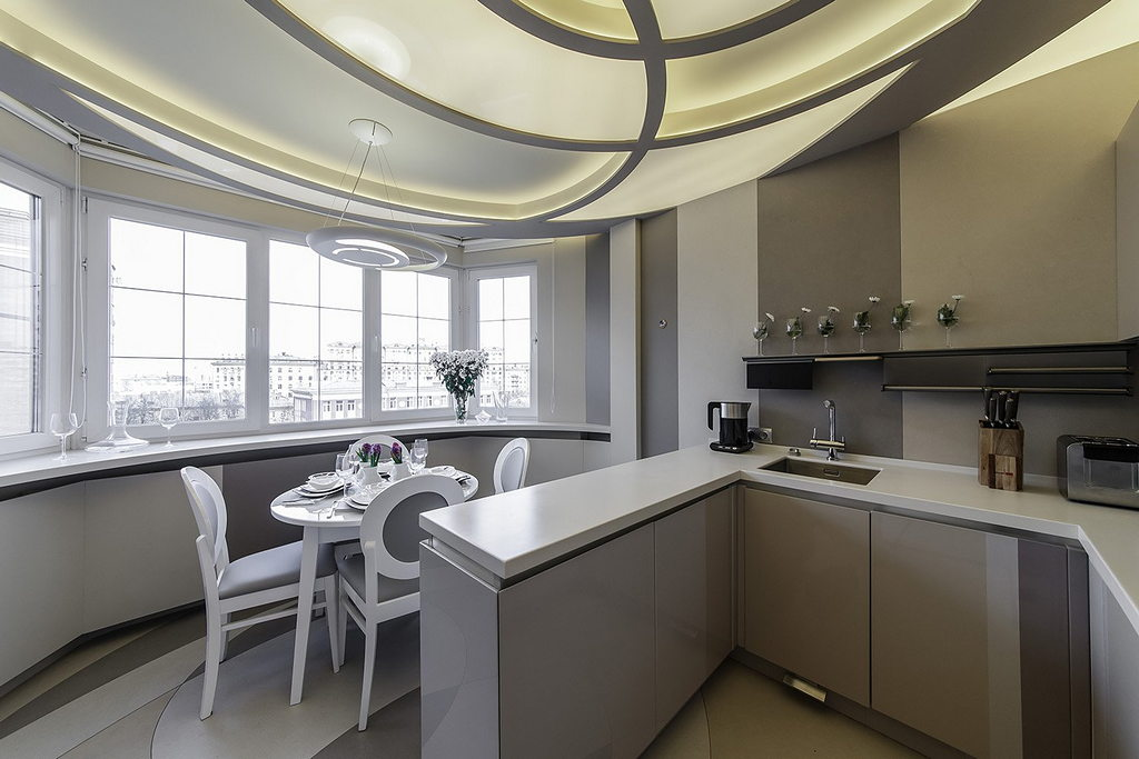 Объединение кухни с балконом, фотографии реальных интерьеров 2