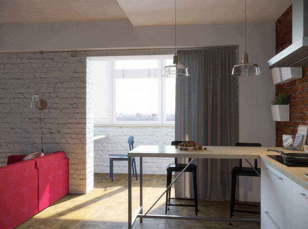 Объединение кухни с балконом, фотографии реальных интерьеров 20