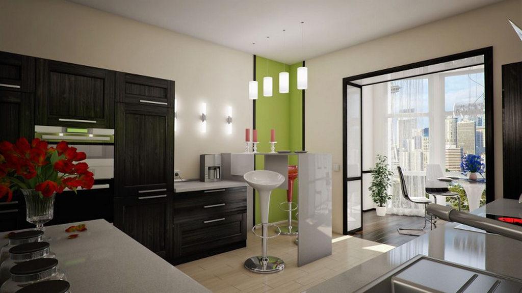 Объединение кухни с балконом, фотографии реальных интерьеров 23