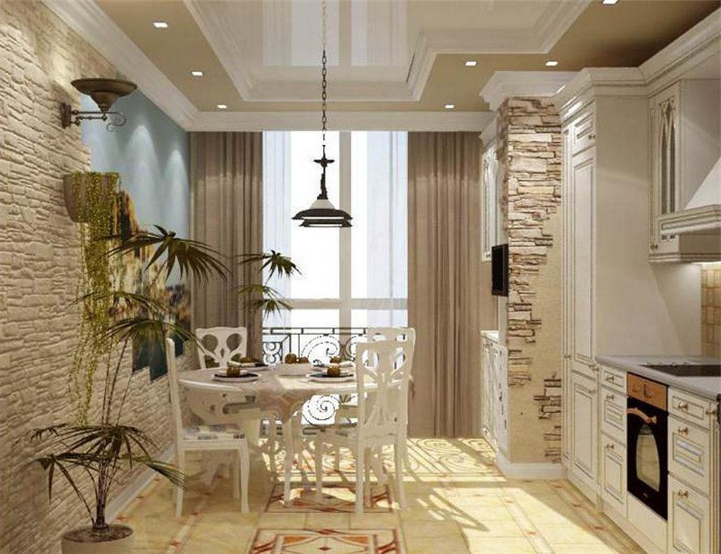 Объединение кухни с балконом, фотографии реальных интерьеров 25