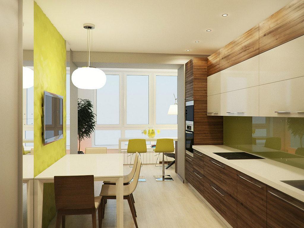 Объединение кухни с балконом, фотографии реальных интерьеров 26