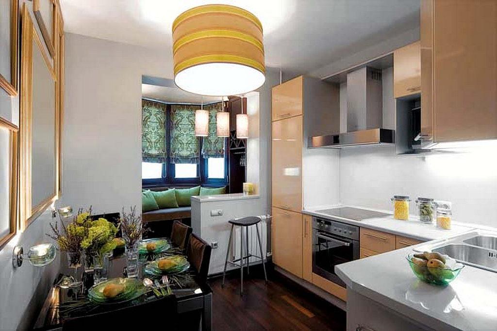 Объединение кухни с балконом, фотографии реальных интерьеров 27