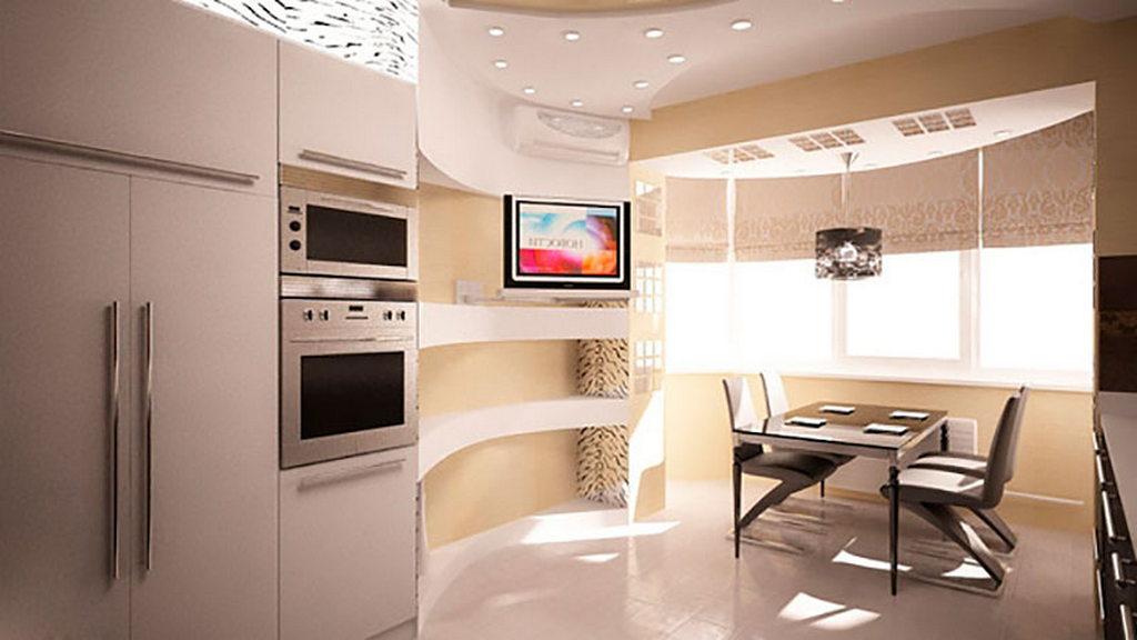 Объединение кухни с балконом, фотографии реальных интерьеров 29