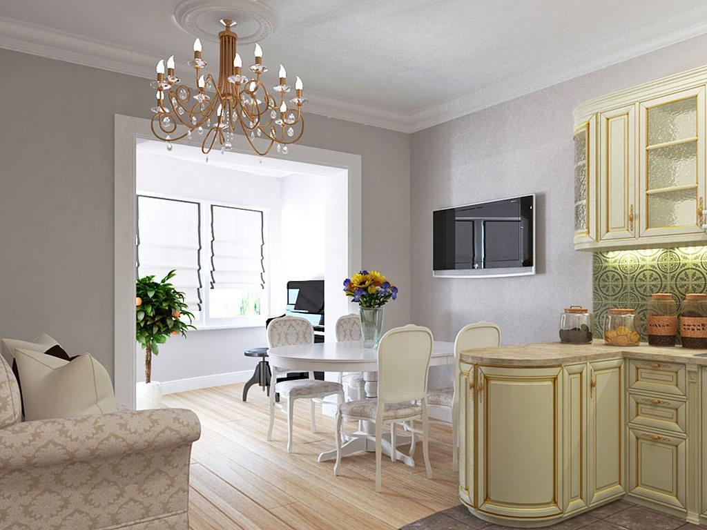 Объединение кухни с балконом, фотографии реальных интерьеров 30