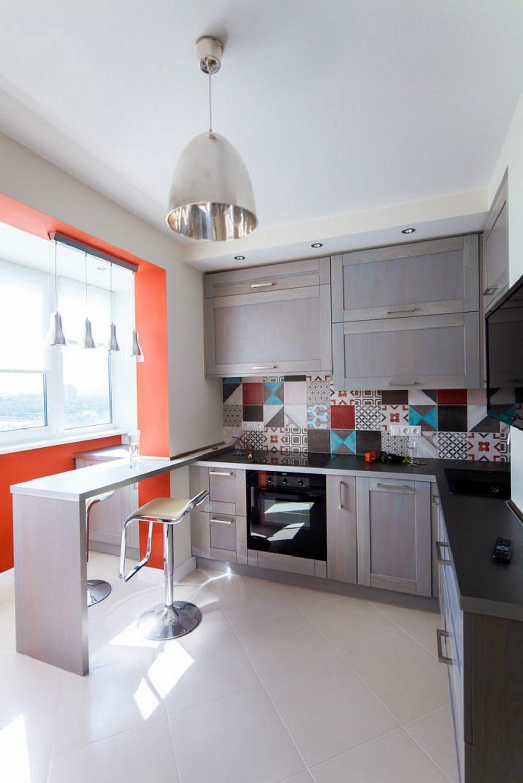 Объединение кухни с балконом, фотографии реальных интерьеров 4