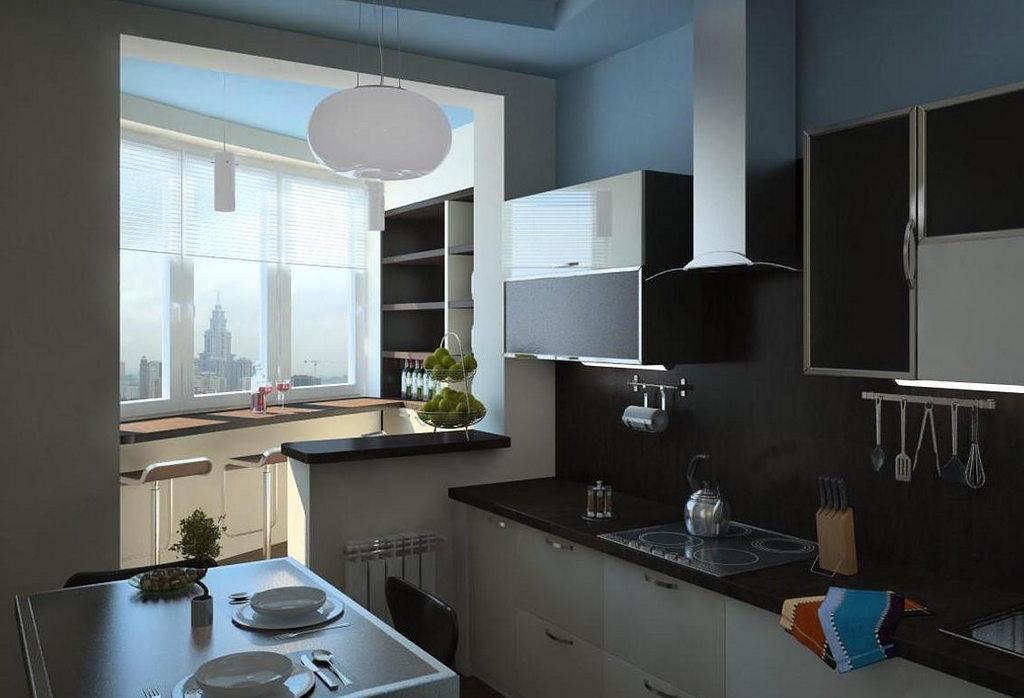 Объединение кухни с балконом, фотографии реальных интерьеров 7