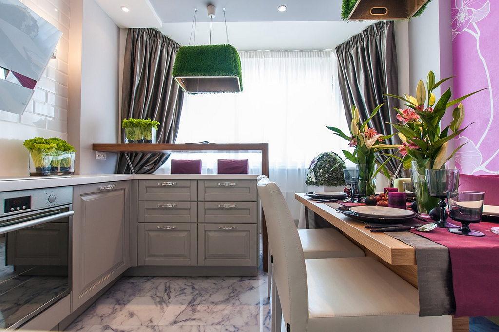 Объединение кухни с балконом, фотографии реальных интерьеров 9