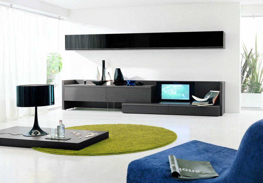Стиль минимализм — гостиная в черно-белых тонах