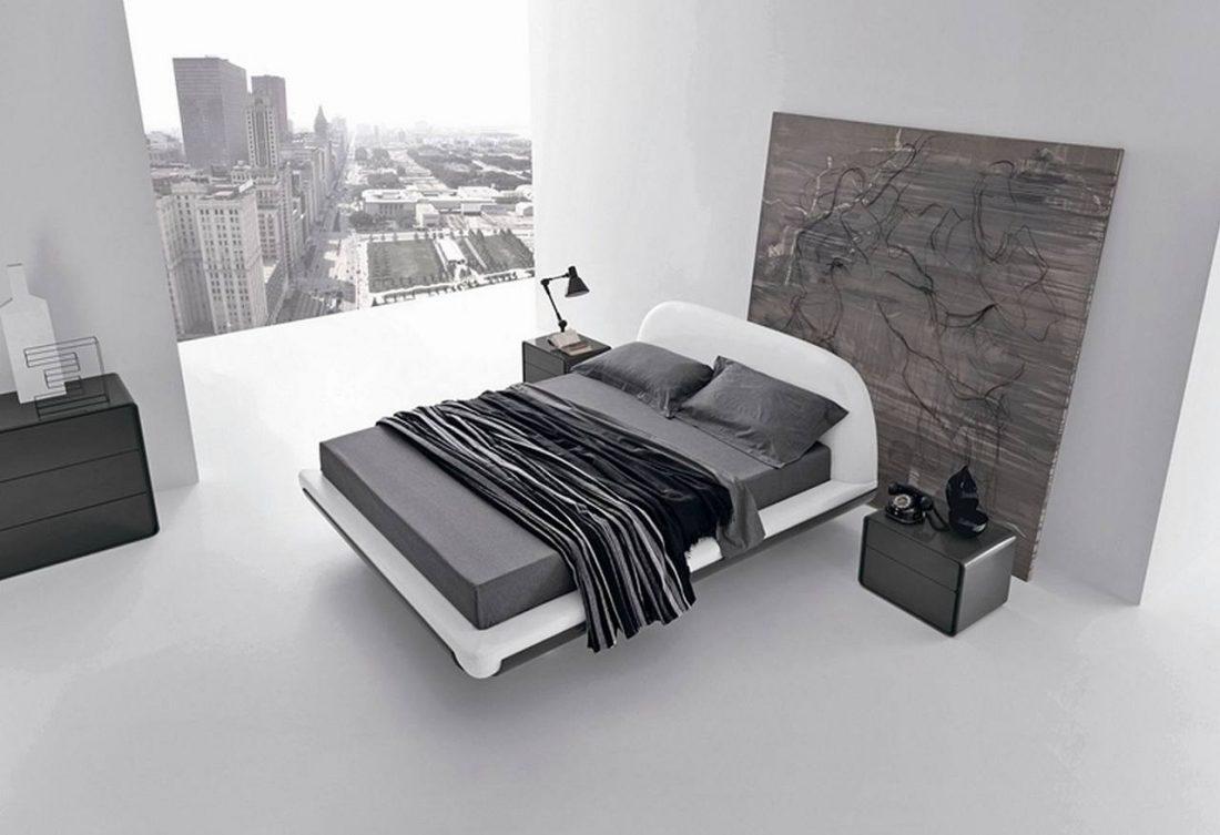 Стиль минимализм в спальне в черно-белых тонах