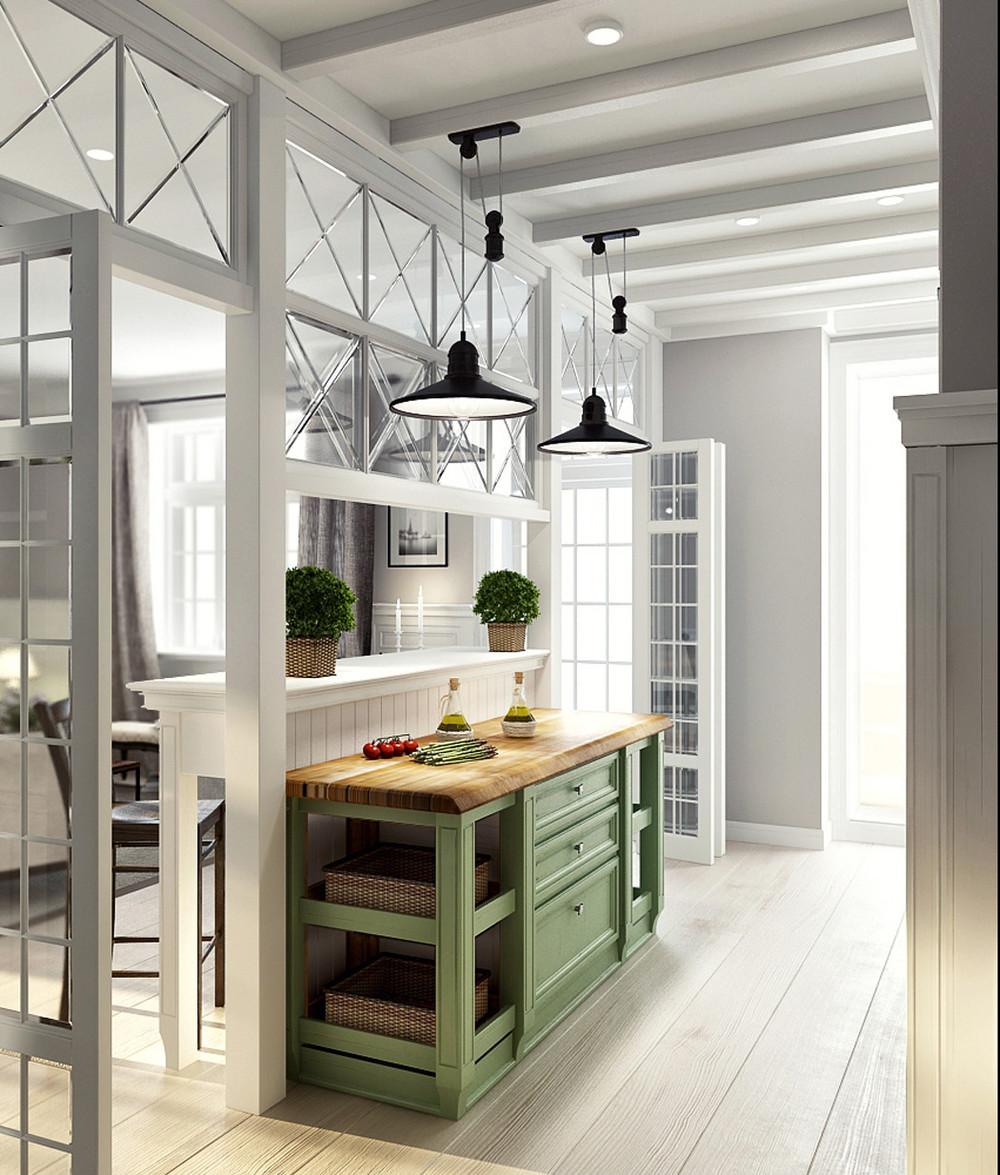Плетеные корзинки в интерьере кухни в стиле прованс