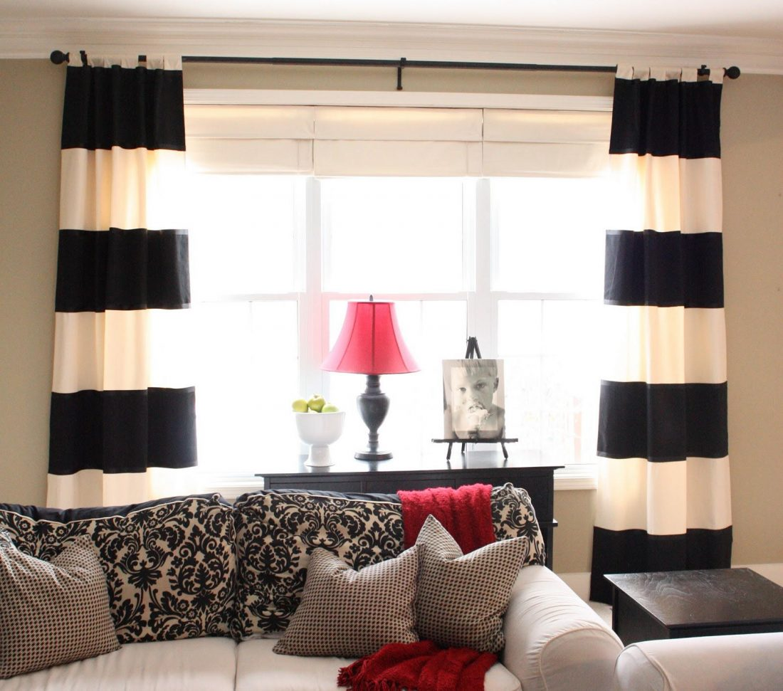 Black white grey curtains