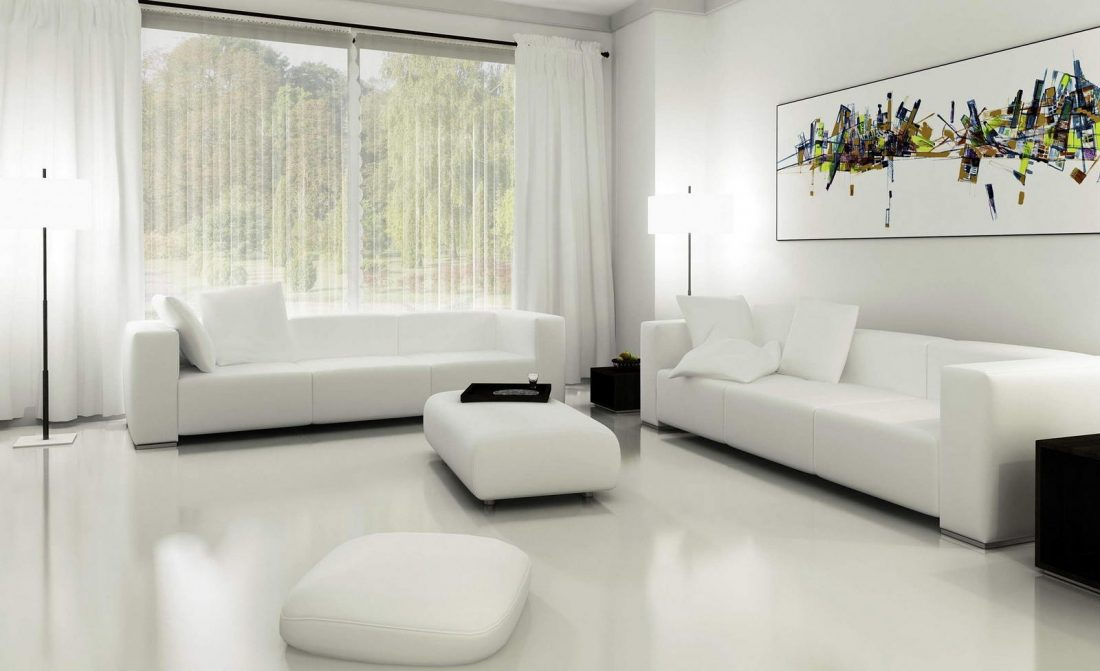 Стиль минимализм в интерьере гостиной - шторы