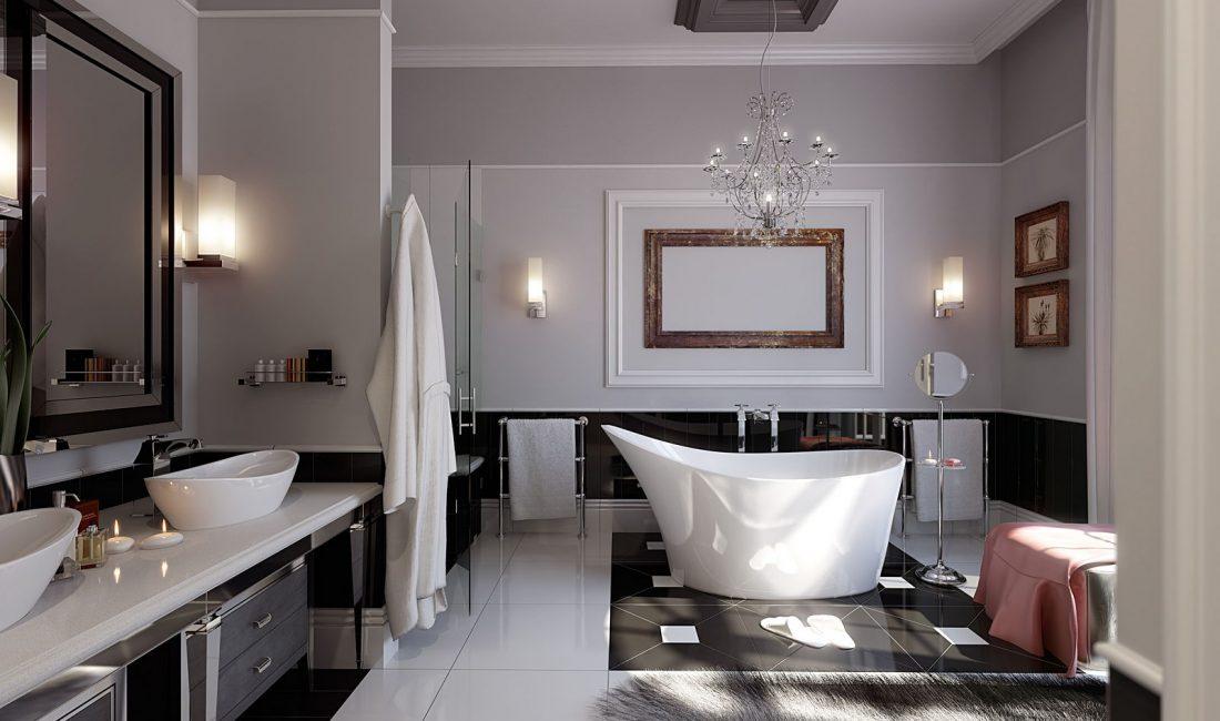 Стиль модерн в интерьере ванной комнаты 1