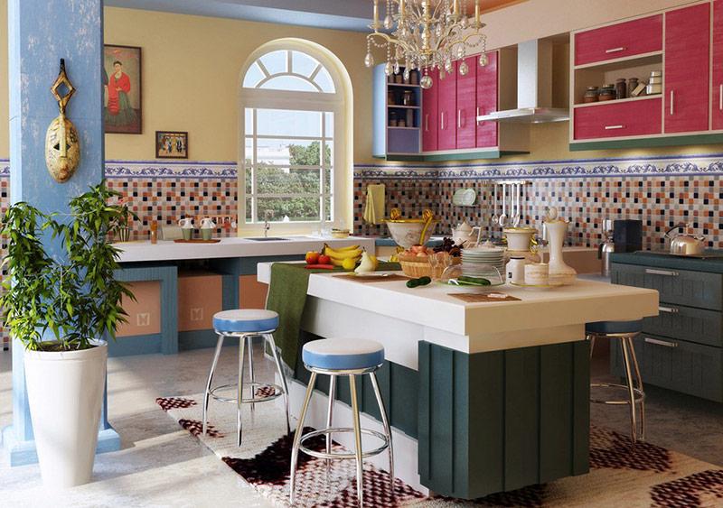 Средиземноморский стиль в интерьере кухни - плитка на фартук кухонной зоны