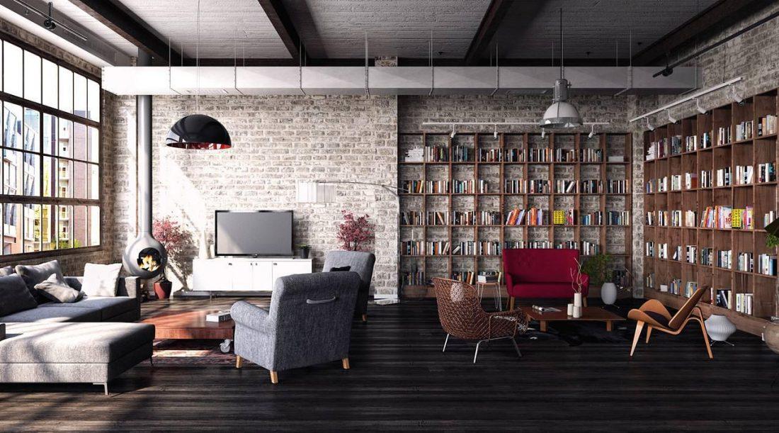Дизайн интерьера квартиры в стиле лофт 10
