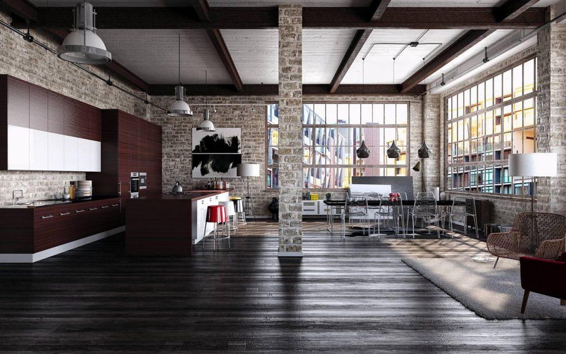 Дизайн интерьера квартиры в стиле лофт 34