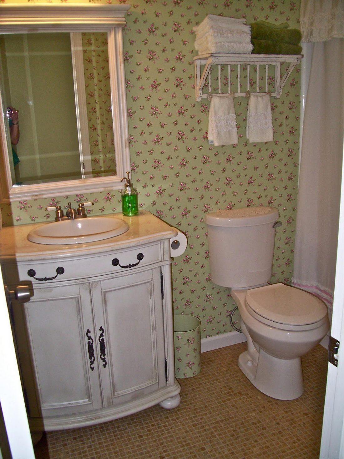 Стиль шебби-шик в ванной комнате 6