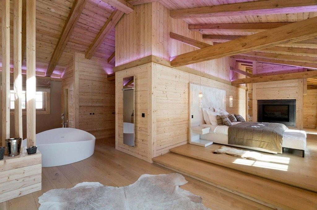 Кантри стиль в интерьере спальни — альпийское шале