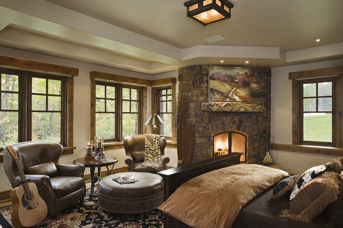 Кантри стиль в интерьере спальни — камин 4