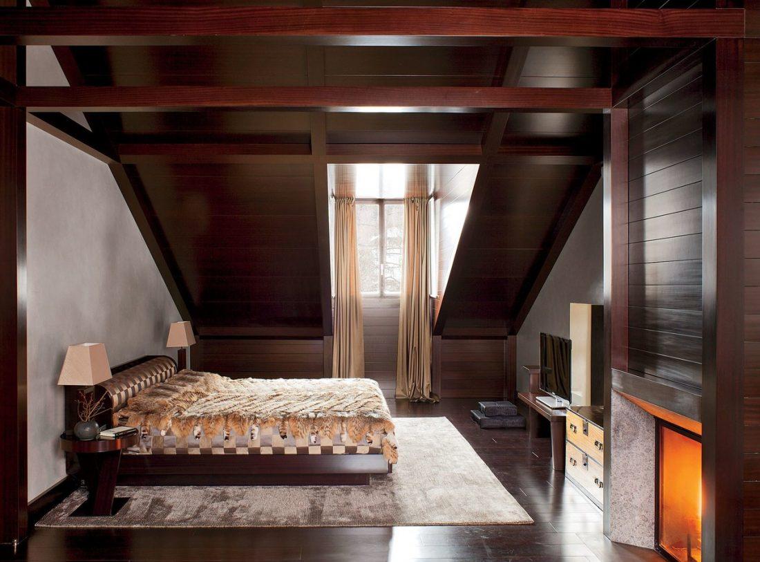 Кантри стиль в интерьере спальни — камин 5