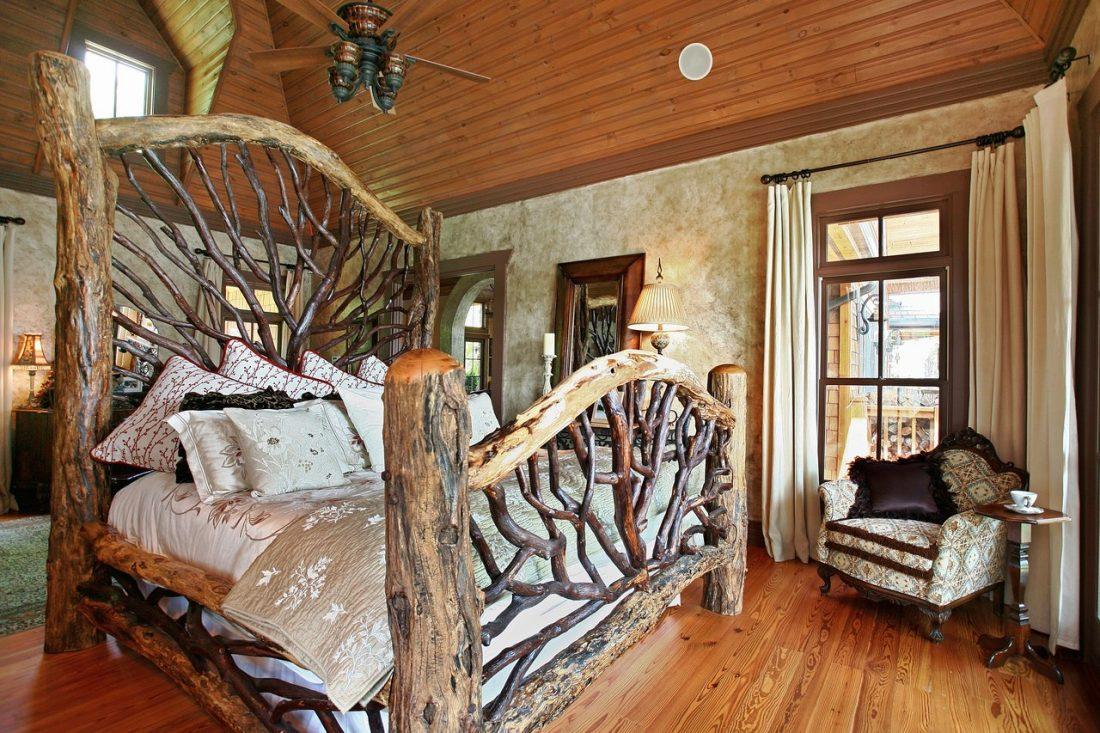 Кантри стиль в интерьере спальни — кровать 4