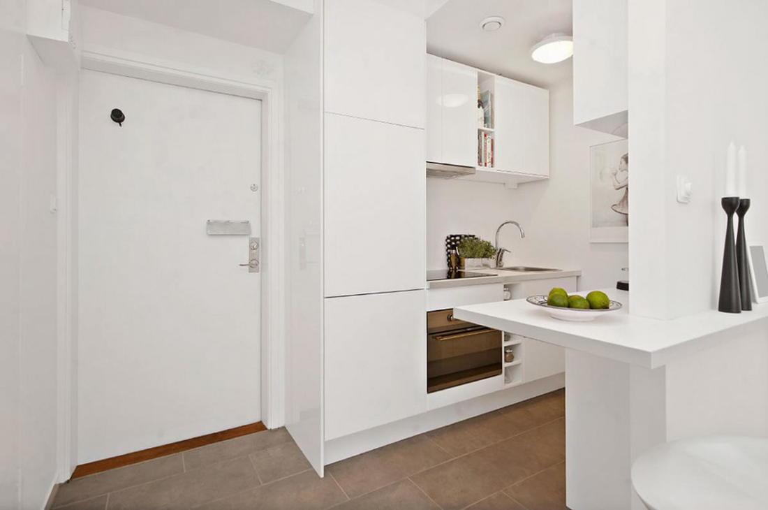 Интерьер белой квартиры в Стокгольме 24 кв. метра уюта 2