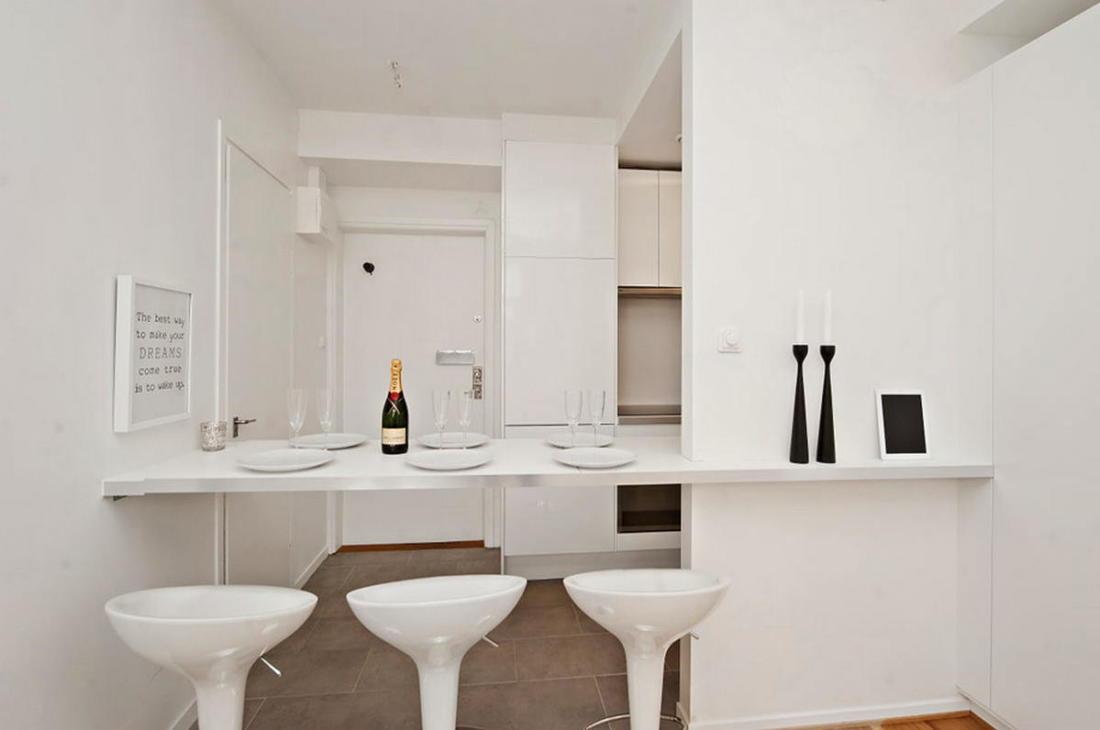Интерьер белой квартиры в Стокгольме 24 кв. метра уюта 4