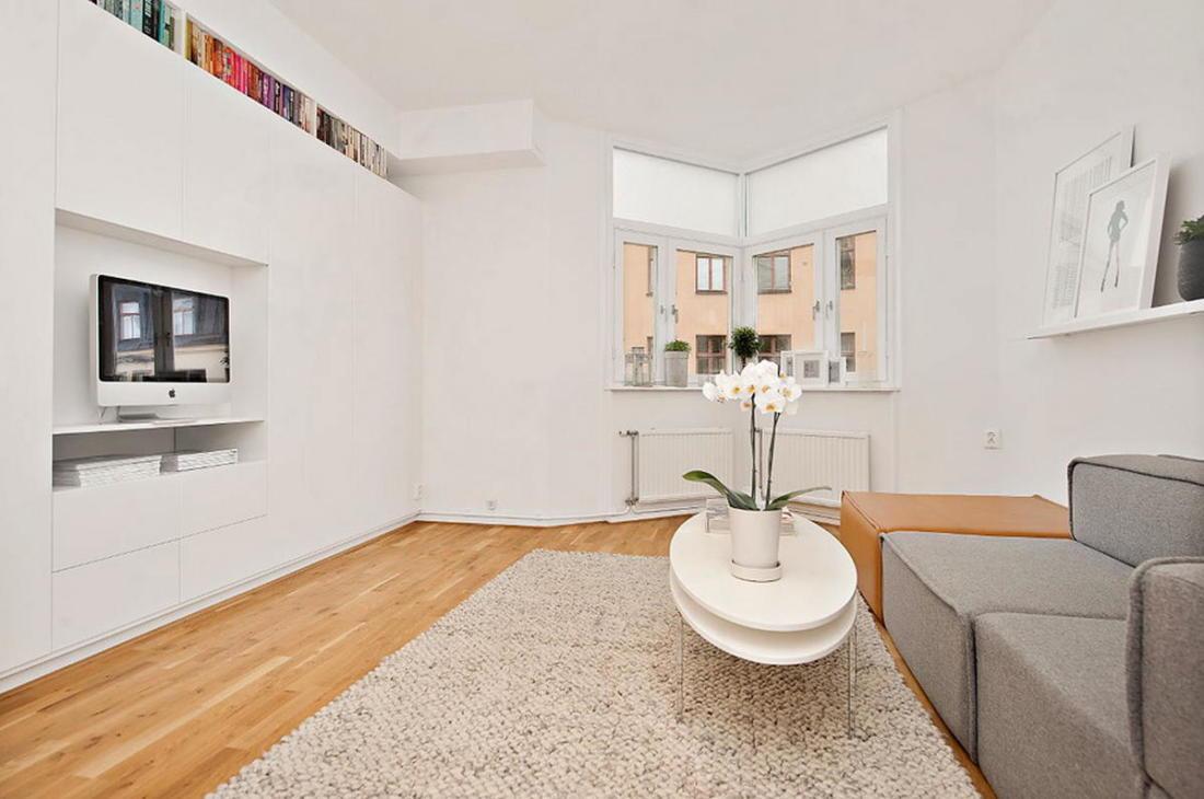 Интерьер белой квартиры в Стокгольме 24 кв. метра уюта 5