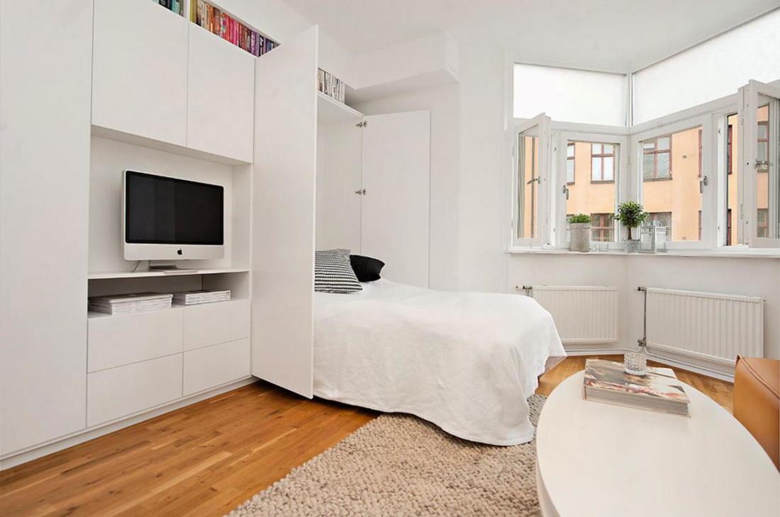 Интерьер белой квартиры в Стокгольме 24 кв. метра уюта 6