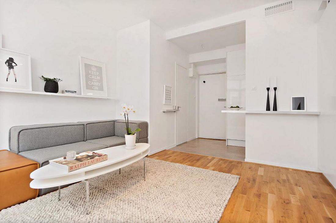 Интерьер белой квартиры в Стокгольме 24 кв. метра уюта 7