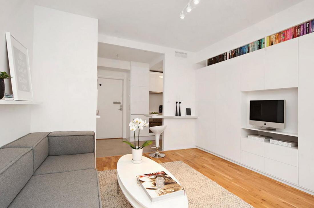 Интерьер белой квартиры в Стокгольме 24 кв. метра уюта 8