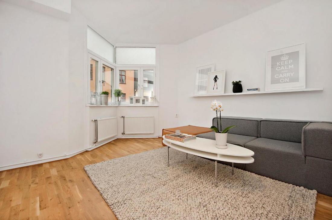 Интерьер белой квартиры в Стокгольме 24 кв. метра уюта 9