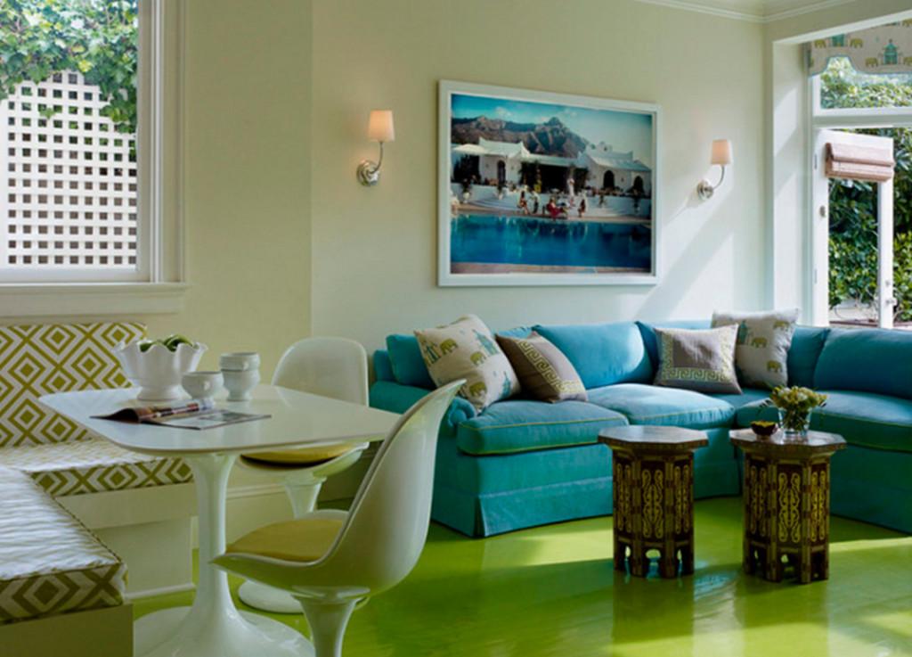 Зеленый пол в гостиной
